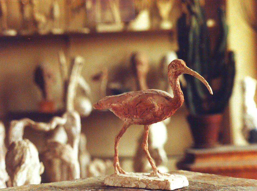 Swedish Sculpture Scarlet Ibis bird sculpture, artwork, ar