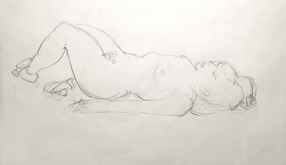 Drawing woman reclining nude art study lying down, resting, figure Swedish sketch. Teckning liggande kvinna naken konst studie naket svensk nakenstudie skiss Rolf Nerlov