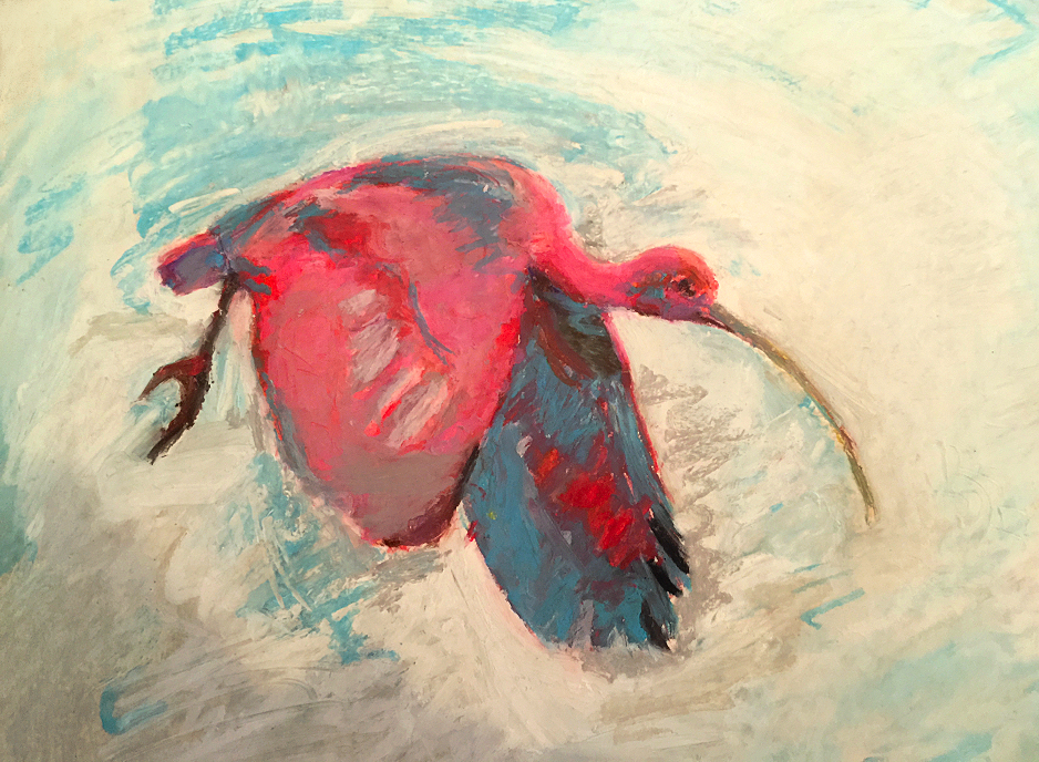 scarlet_ibis_trinidad_national_bird_red_swedish_painting_art_painter_paintings_impressionism_impressionist_rod_ibis_fagel_nationalfagel_svensk_konst_maleri_malningar_malare_svenska_konstnarer_kunst_malmo_nerlov