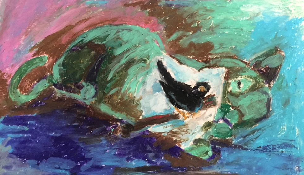 Swedish art, Scandinavian art, artwork. Swedish painters, Swedish painting, paintings. Post impressionism, impressionist painting, art. Portrait cat painting bird, artwork,, animals, animal art. Rolf Nerlov, artist from Malmo, Scania, Sweden. Oil pastels.  Art academy. The Royal Danish Academy of Fine Arts, Copenhagen, Denmark. Svensk konst, svenska konstnarer, svenska konstverk, malning, svenska malningar. Svenska malare, svenskt maleri. Malmo konst, Skane konst. Skanekonstnar, skanekonstnarer, malmokonstnar, malmokonstnarer. Skansk konst, Skanska konstnarer, skansk konstnar. Malningar Osterlen, Ystad konst Lund kulturen. Post impressionism konst. Post impressionistisk konst. Impressionistiska malare, konstnarer. Skandinavien, Norden. Portratt katt malning konstverk fagel malning, kattmalning, fagelmalningar, kattmalningar, fagelmalning, katter, faglar, oljepastell, oljepasteller. Djur konst. Konstakademien Kopenhamn, Danmark. Rolf Nerlov. Svensk kunst, kunstner, svenske kunstnere portraet kat maleri, svenske malerier, svensk  maler, svenske malere. Svenske malerier katte, fugl, fugle. Det Kongelige Danske Konstakademi, Kobenhavn. Kunst Malmø kunstner Malmø kunstnere Malmø maleri, malerier Malmø maler, malere svenske kunstværker, moderne kunst impressionisme Malmø kunstudstilling Skane kunstgalleri Osterlen kunstudstillinger, kunstgallerier Osterlen kunst Skane kunst Malmo kunstnere. Schwedische Kunst, Schwedische Kunstler. Schwedische Malerei, Maler, Malereien, Gemalde. Schwedischer. Schweden. Post Impressionismus. Portrat Katze Malerei Katzen, Vogel. Skandinavische Nordische Kunst.