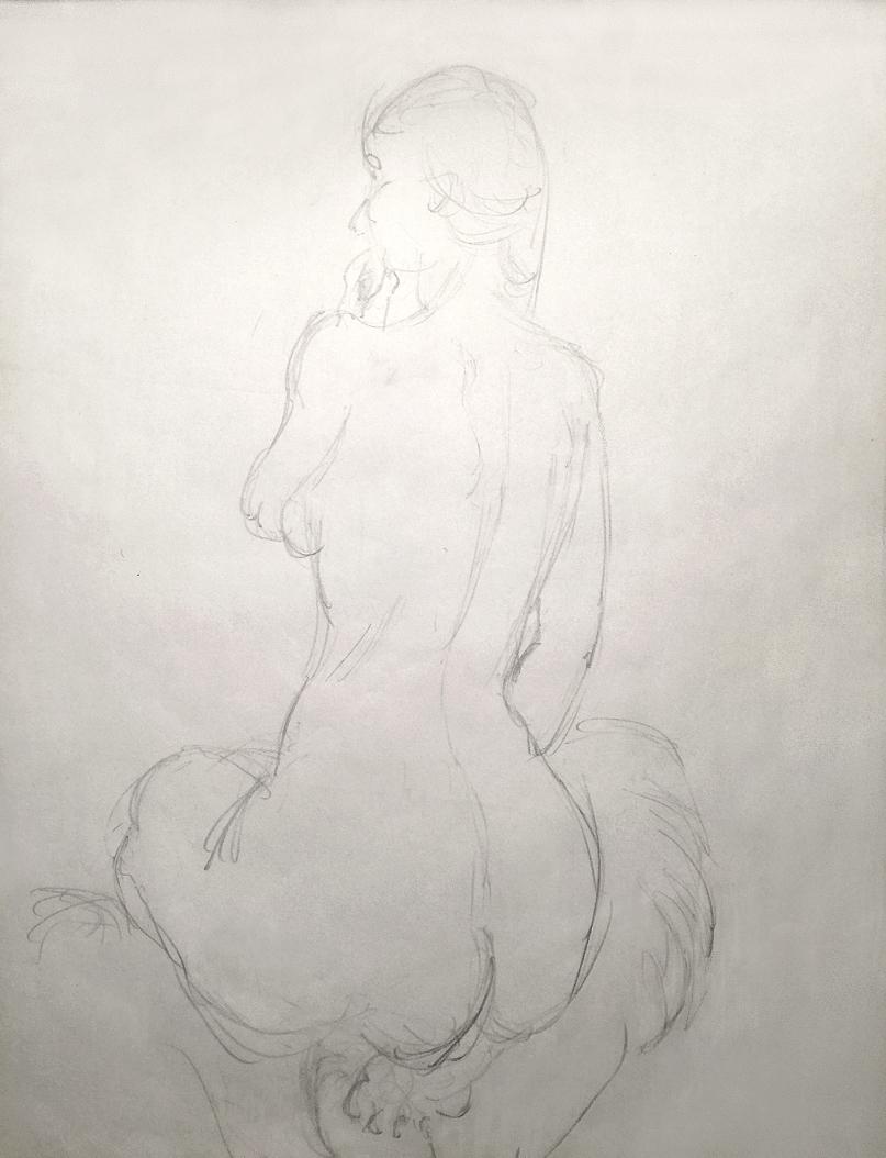 Drawing woman nude figure Swedish art study sitting sketch. Teckning kvinna naken naket sittande svensk nakenstudie figur konst studie skiss Rolf Nerlov